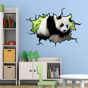 VWAQ Panda Bear Wall Decal Hole in the Wall Crack Removable Wall Decal - WC26