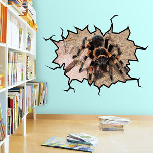 VWAQ Tarantula Wall Decal Peel and Stick Removable Crack in the Wall Mural