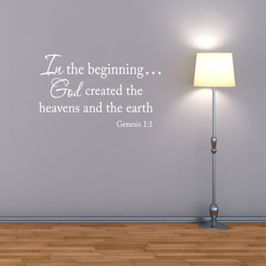 VWAQ In the Beginning God Created the Heavens and the Earth Wall Decal (WHITE) - VWAQ Vinyl Wall Art Quotes and Prints