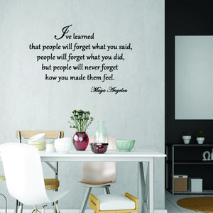 VWAQ I've Learned That People Will Forget What You've Said Maya Angelou Wall Decal - VWAQ Vinyl Wall Art Quotes and Prints