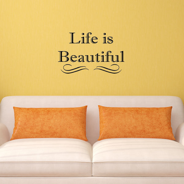 VWAQ Life is Beautiful Vinyl Wall art Decal - VWAQ Vinyl Wall Art Quotes and Prints