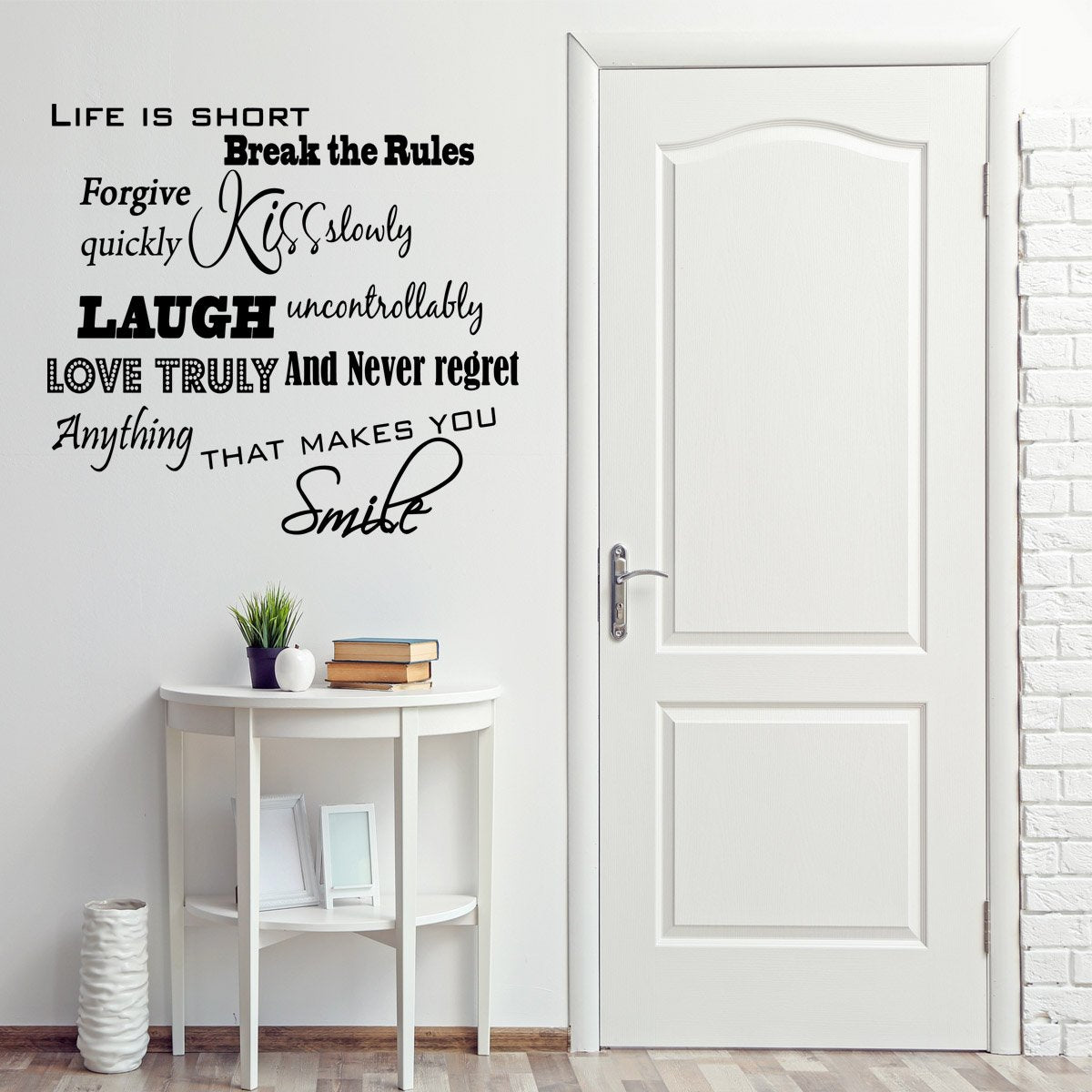 VWAQ Life is Short, Break the Rules, Forgive Quickly, Kiss Slowly Wall Decal - VWAQ Vinyl Wall Art Quotes and Prints