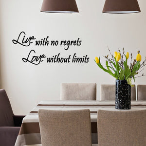 VWAQ Live with No Regrets, Love Without Limits Wall Decal - VWAQ Vinyl Wall Art Quotes and Prints