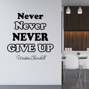 VWAQ Never Never Never Give Up Winston Churchill Wall Decal