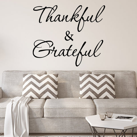 VWAQ Thankful and Grateful Inspirational Vinyl Wall Decal - Version 1 - VWAQ Vinyl Wall Art Quotes and Prints