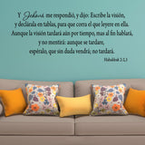 VWAQ Then the Lord replied Write down the Revelation Habakkuk 2:2,3 Spanish Wall Decal - VWAQ Vinyl Wall Art Quotes and Prints