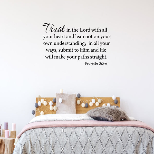 VWAQ Trust In The Lord With All Your Heart Lean Not On Your Own Understanding Bible Wall Decal
