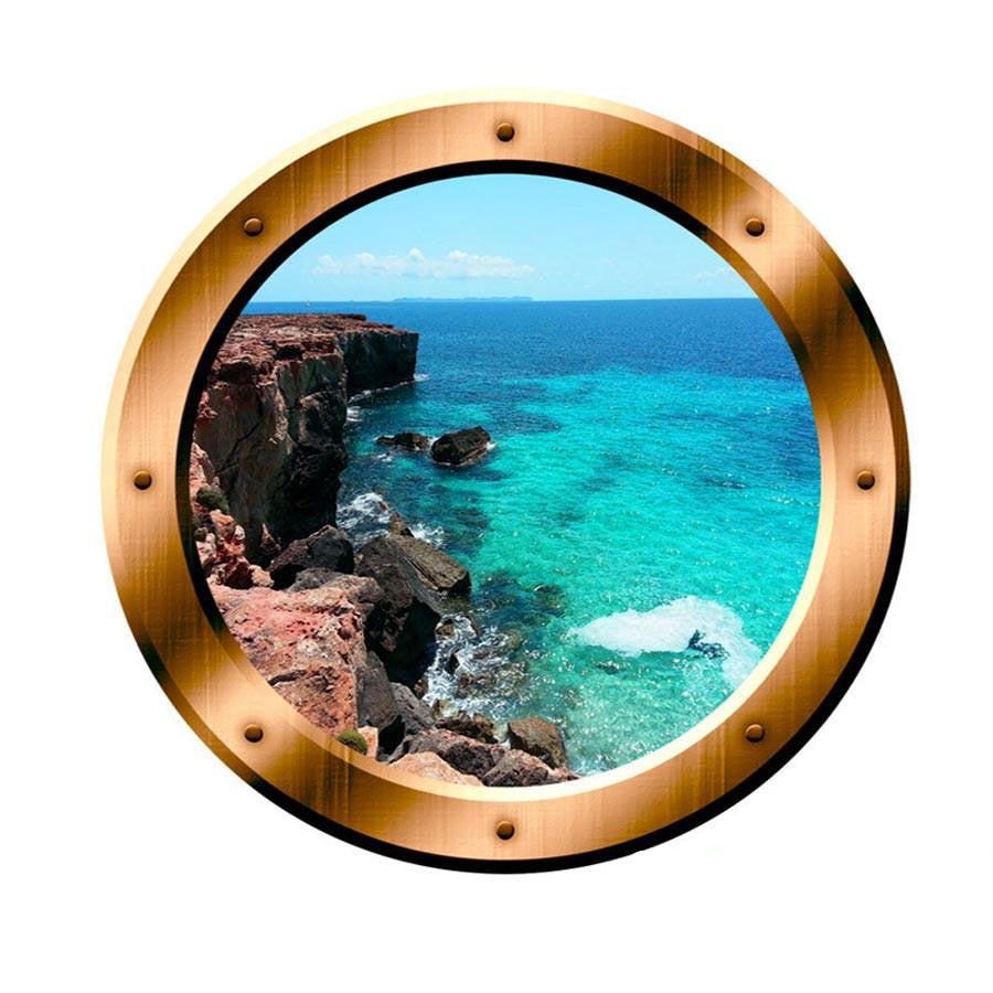 Ocean Side Cliff View 3D Porthole Vinyl Decal Family Wall Art Ocean View 3D Window Bronze Portal Art Home Decor BP1