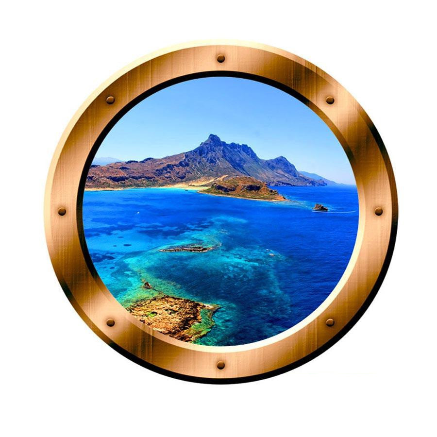 VWAQ Ocean Side Cliff View Bronze Porthole Peel and Stick Vinyl Wall Decal - VWAQ Vinyl Wall Art Quotes and Prints no background