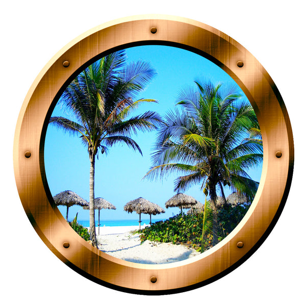 Beach Palm Trees Scene Peel and Stick Bronze Vinyl Wall Decal Porthole - VWAQ Vinyl Wall Art Quotes and Prints