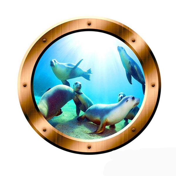 VWAQ Underwater Seal Scene Bronze Porthole Peel And Stick Vinyl Wall Decal - BP1 no background