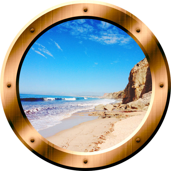 VWAQ Ocean Beach View Bronze Porthole Window Peel and Stick Vinyl Wall Decal - VWAQ Vinyl Wall Art Quotes and Prints no background