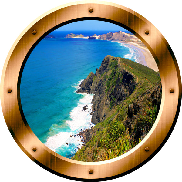 VWAQ Ocean Mountain View Bronze Window Porthole Peel & Sticker Wall Decal - VWAQ Vinyl Wall Art Quotes and Prints no background