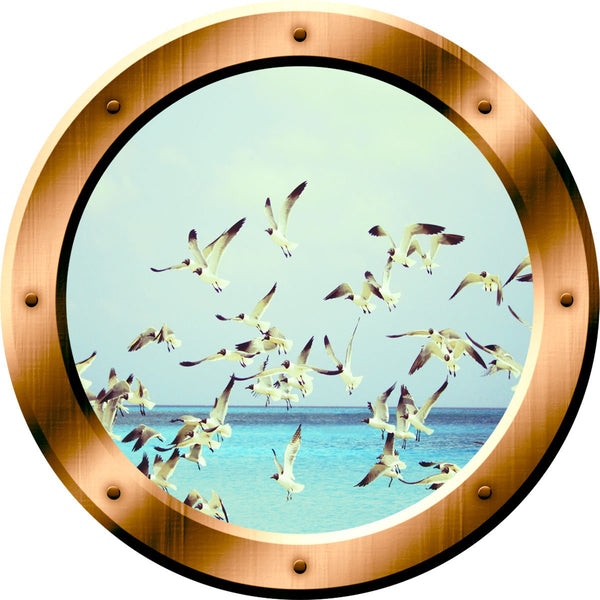 VWAQ Seagulls Ocean Peel and Stick Window Porthole Vinyl Wall Decal - BP37 no background