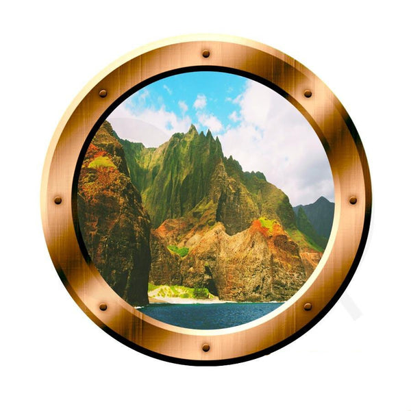 VWAQ Ocean Mountain View Bronze Porthole Peel and Stick Vinyl Wall Decal - VWAQ Vinyl Wall Art Quotes and Prints no background