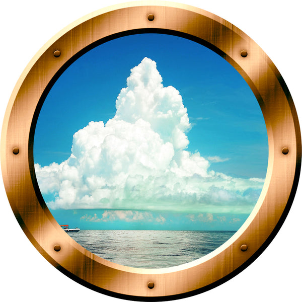 VWAQ Ocean and Clouds Scene Bronze Porthole Peel and Stick Vinyl Wall Decal - BP40 no background