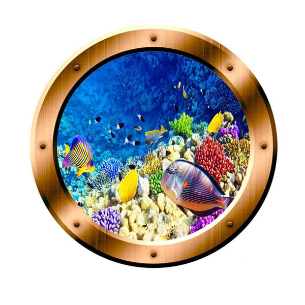 VWAQ Underwater Scene School of Fish Bronze Porthole Peel And Stick Vinyl Wall Decal - BP7 no background
