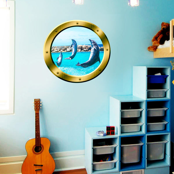 VWAQ Peel and Stick Gold Dolphin Porthole Vinyl Wall Decal - GP26