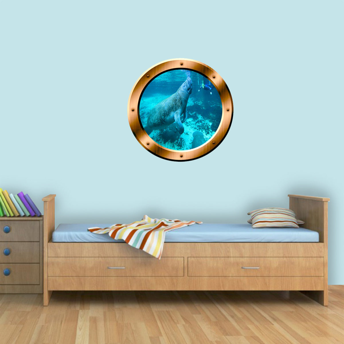 VWAQ Manatee Bronze Porthole Peel and Stick Vinyl Wall Decal - BP25 - VWAQ Vinyl Wall Art Quotes and Prints