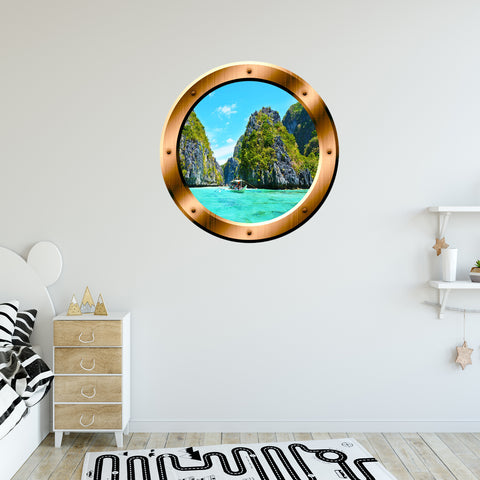 VWAQ Boat in Ocean Nature Scene Peel and Stick Bronze Porthole Vinyl Wall Decal - BP23 - VWAQ Vinyl Wall Art Quotes and Prints