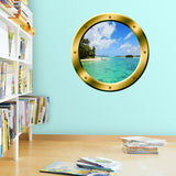 VWAQ Ocean Beach Peel and Stick Gold Porthole Vinyl Wall Decal - GP22 - VWAQ Vinyl Wall Art Quotes and Prints