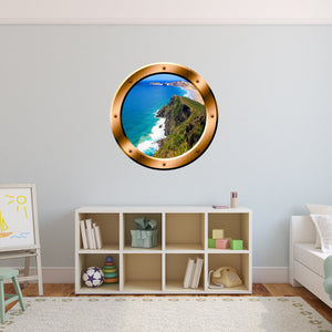 VWAQ Ocean Mountain View Bronze Window Porthole Peel & Sticker Wall Decal - BP33 - VWAQ Vinyl Wall Art Quotes and Prints