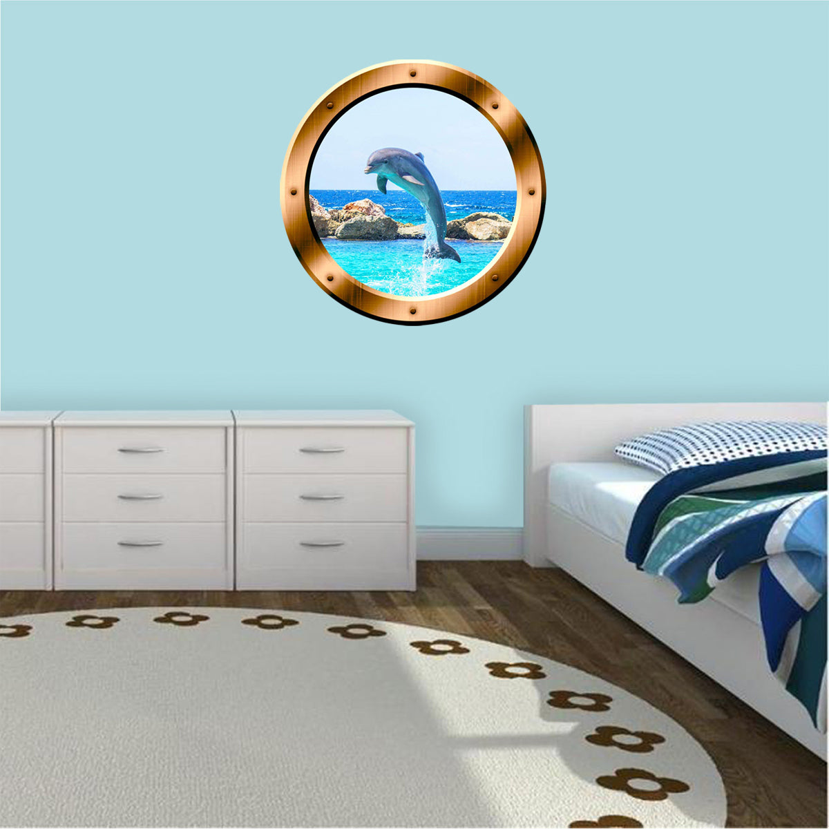 VWAQ Dolphin in Ocean Bronze Porthole Peel and Stick Vinyl Wall Decal - BP30 - VWAQ Vinyl Wall Art Quotes and Prints