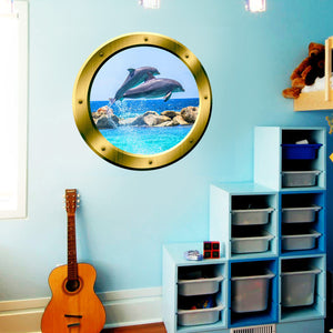 VWAQ Peel And Stick Dolphin Vinyl Wall Decal Gold Porthole