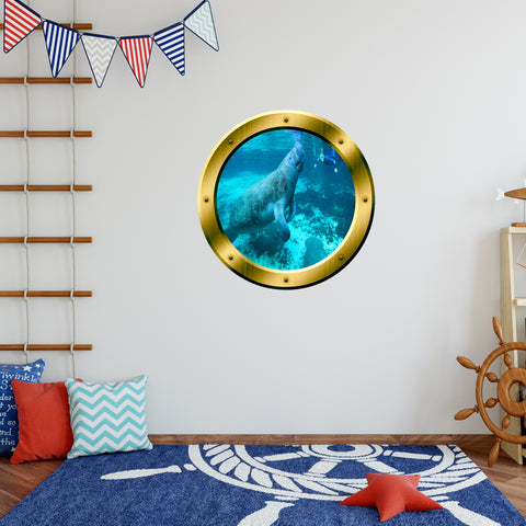 VWAQ Peel and Stick Gold Porthole Manatee Under Water Vinyl Wall Decal - GP25