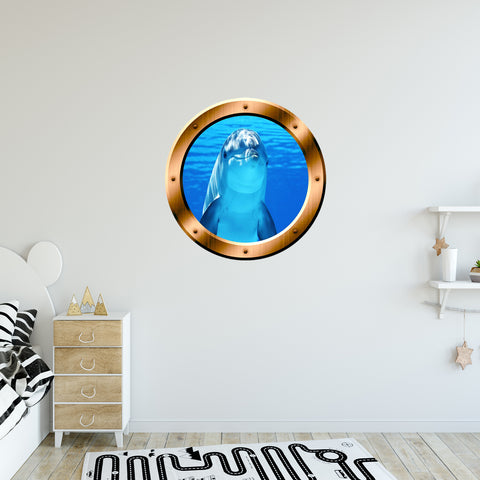 VWAQ Peel and Stick Porpoise Dolphin Bronze Porthole Vinyl Wall Decal - BP29