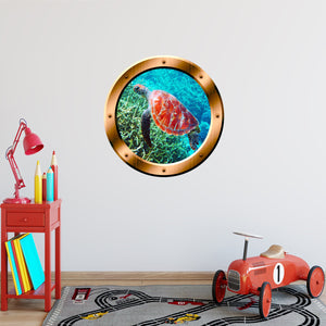 VWAQ Sea Turtle Bronze Porthole Peel and Stick Vinyl Wall Decal - BP31