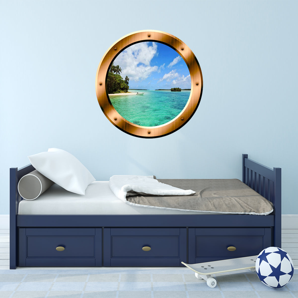 Vwaq 1 X Beach Porthole Ocean Wall Decal 3d Beach Wall Sticker Peel