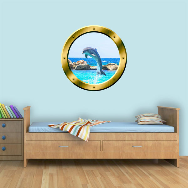 VWAQ Peel and Stick Dolphin Gold Porthole Vinyl Wall Decal - GP30 - VWAQ Vinyl Wall Art Quotes and Prints