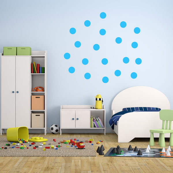 20 Polka Dot Wall Decals 3 Inch Peel & Stick Circles Dots Colors Kids Room - VWAQ Vinyl Wall Art Quotes and Prints
