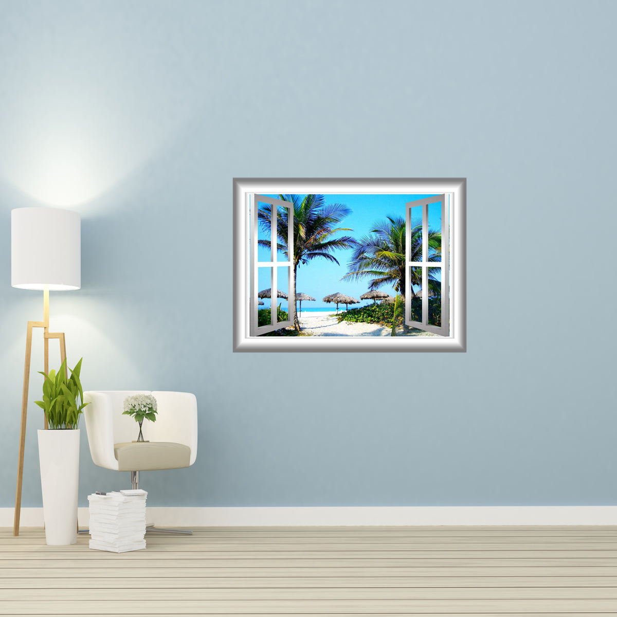 Vwaq 3d Beach Wall Decals Palm Tree Wall Sticker Peel And Stick Mural