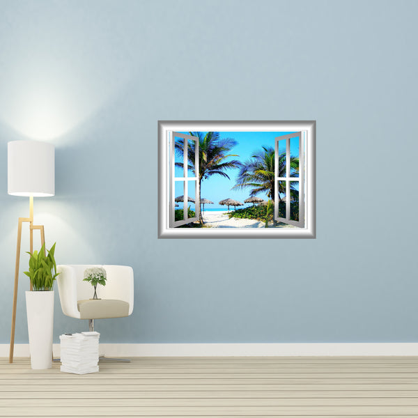 VWAQ 3D Beach Wall Decals Palm Tree Wall Sticker Peel and Stick Mural - NW17 - VWAQ Vinyl Wall Art Quotes and Prints