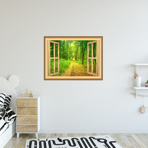 VWAQ 3D Forest Window Wall Decal Outdoors Wall Decor Peel and Stick Mural - NW40 - VWAQ Vinyl Wall Art Quotes and Prints