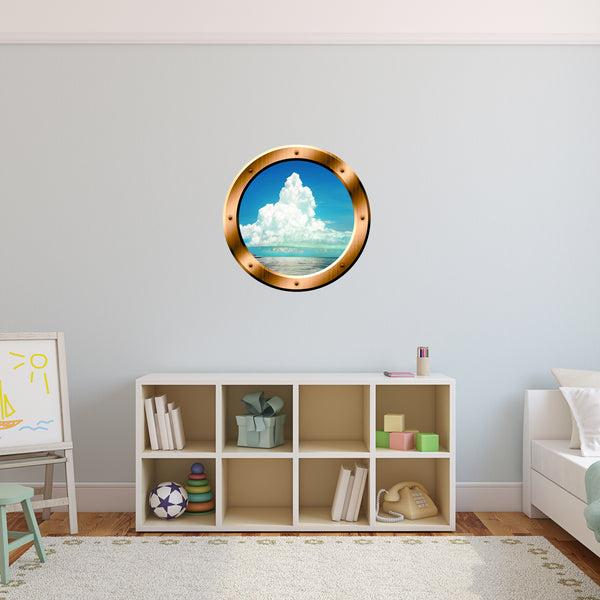 VWAQ Ocean and Clouds Scene Bronze Porthole Peel and Stick Vinyl Wall Decal - BP40