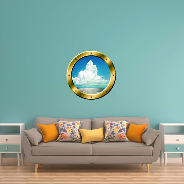VWAQ Ocean and Clouds Scene Peel and Stick Gold Porthole Vinyl Wall Decal - GP40