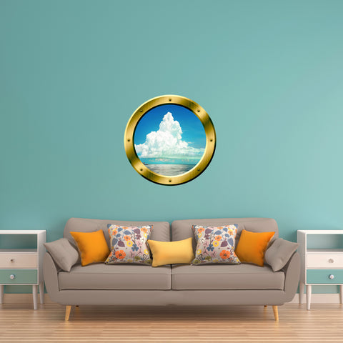 VWAQ Ocean and Clouds Scene Peel and Stick Gold Porthole Vinyl Wall Decal - GP40 - VWAQ Vinyl Wall Art Quotes and Prints