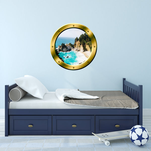 VWAQ Ocean Cliff Aerial View Peel and Stick Gold Window Porthole Wall Decal - GP41
