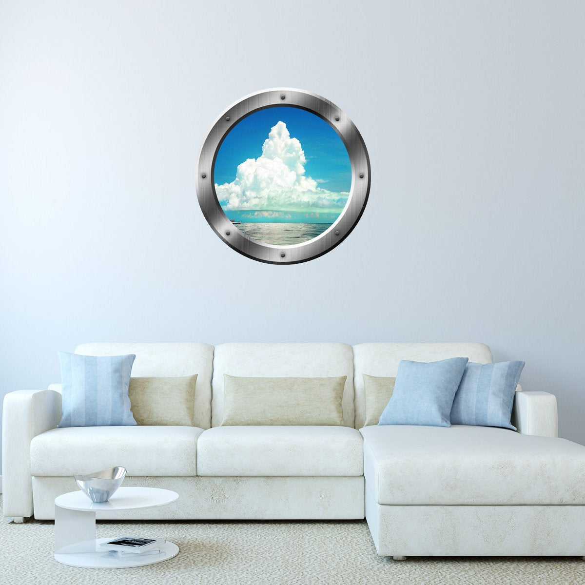 VWAQ Ocean and Clouds View Peel and Stick Silver Porthole Vinyl Wall Decal - SP40 - VWAQ Vinyl Wall Art Quotes and Prints
