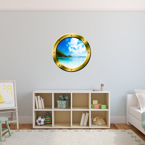 VWAQ Clear Blue Beach Gold Porthole Window Peel and Stick Wall Decal - GP34 - VWAQ Vinyl Wall Art Quotes and Prints