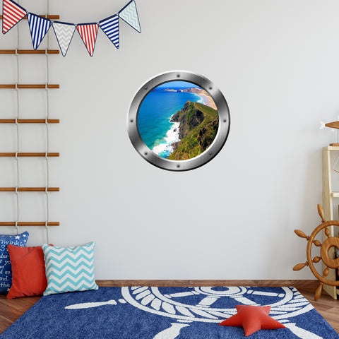 VWAQ Ocean Mountain View Silver Porthole Vinyl Wall Decal - SP33 - VWAQ Vinyl Wall Art Quotes and Prints