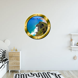 VWAQ Ocean Cliff Window Gold Porthole Peel and Stick Vinyl Wall Decal - GP33