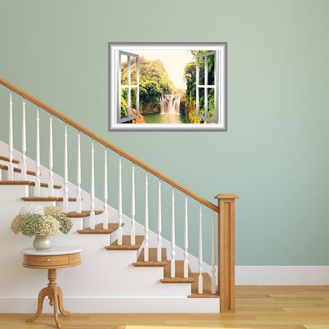 Waterfall Scene 3D Window Frame Decal