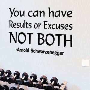 VWAQ You Can Have Results Or Excuses Not Both Arnold Schwarzenegger Quotes Wall Decal