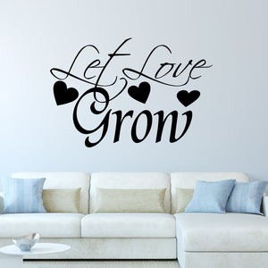 VWAQ Let Love Grow Family Quotes Wall Decal