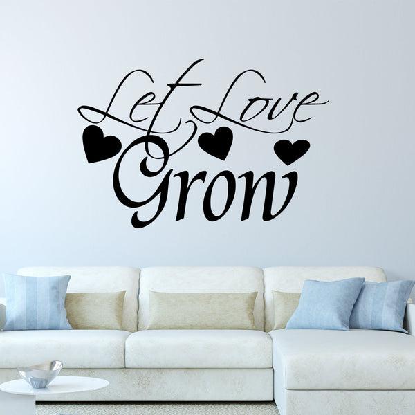 VWAQ Let Love Grow Family Quotes Wall Decal - VWAQ Vinyl Wall Art Quotes and Prints