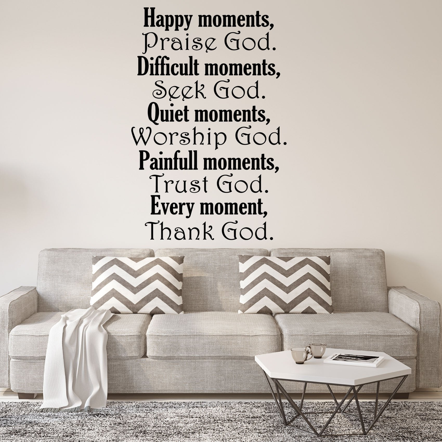 happy moments praise god christian quotes wall decal